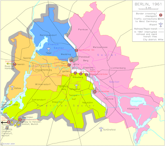 Map: East Berlin vs. West berlin