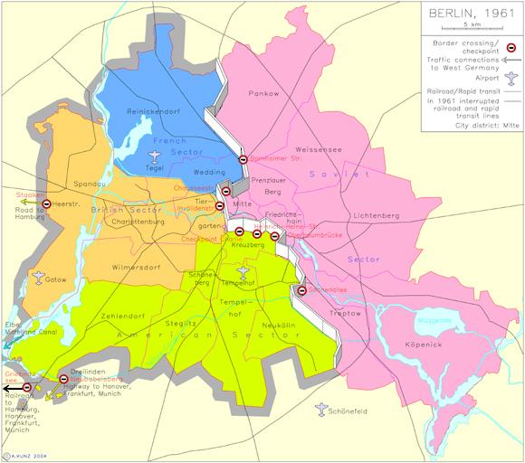 Map: East Berlin vs. West berlin