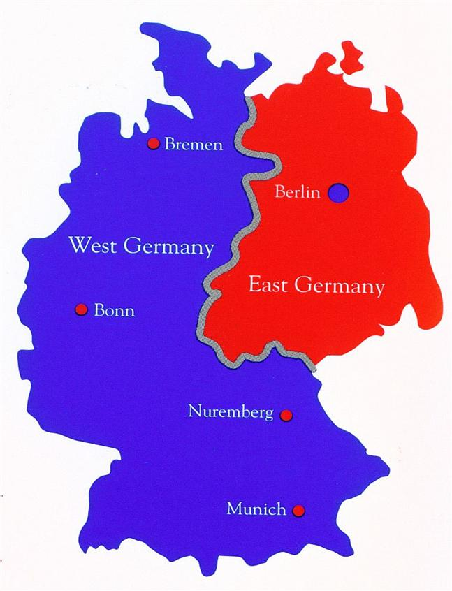 Map of Germany: West Germany and East germany